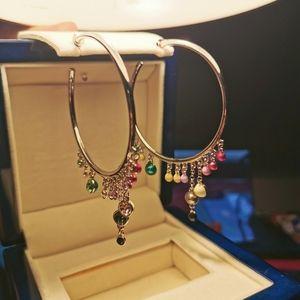 Oversized hoop earrings with crystal